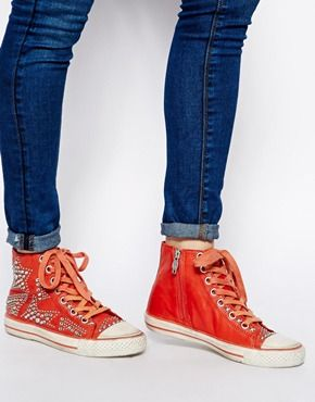 Ash Vibration Stud Lace Up Coral Sneakers