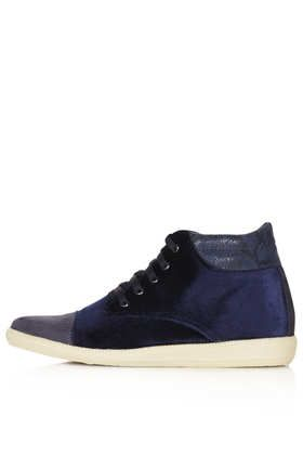 ASPECT WEDGE VELVET TRAINERS