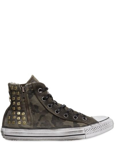 CONVERSE - GOLD STUDDED CAMO HIGH TOP SNEAKERS...