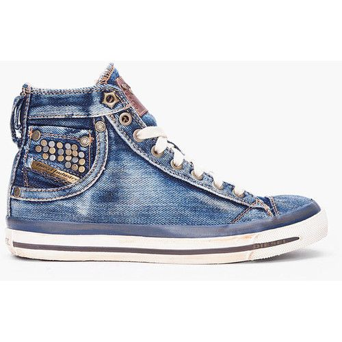 DIESEL Denim Mid Exposure Sneakers-