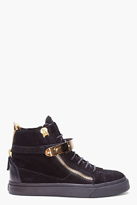 GIUSEPPE ZANOTTI Black August Gold Trim Sneakers