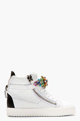 GIUSEPPE ZANOTTI White Jewel-Embellished High-Top Sneakers