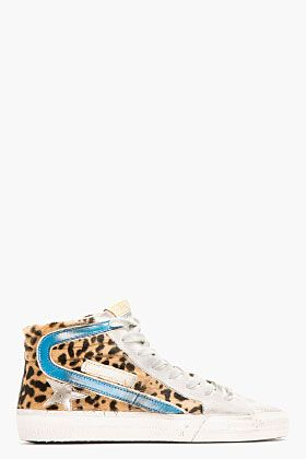 Golden Goose Grey & Leopard Print Calf-hair Slide Sneakers for women   SSENS...