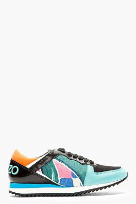Kenzo Teal Leather & Neoprene Abstract Sneakers for women | SSENSE