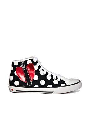 Love Moschino Polka Dot High Top Sneakers
