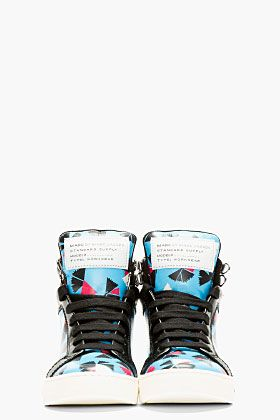 MARC BY MARC JACOBS Blue Leather Pinwheel Cute Kicks High-Top Sneakers