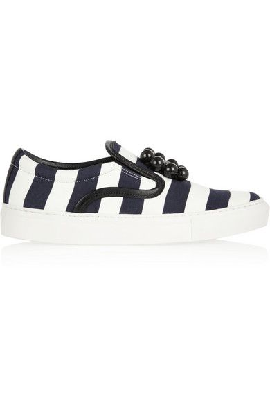 MOTHER OF PEARL Achilles embellished striped canvas sneakers