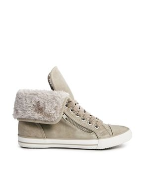 New Look Beige Meerkat Fur Cuff Hi Top Sneaker...
