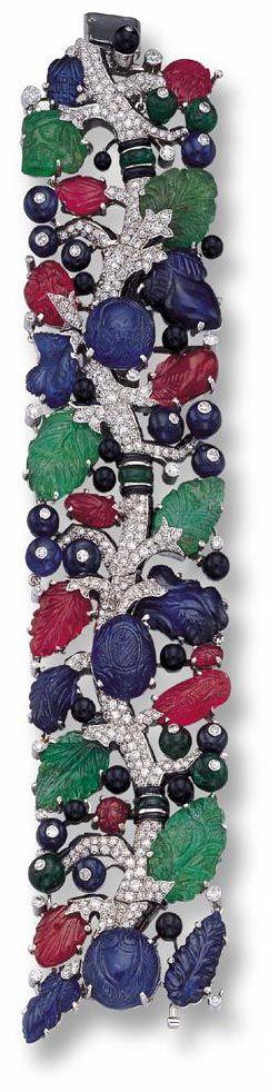 Cartier diamond, sapphire, emerald, ruby bracelet, 1930