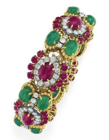 A DIAMOND, RUBY AND EMERALD BRACELET, BY DAVID WEBB