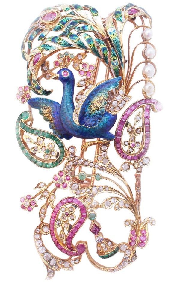 A tall and exquisitely crafted Art Nouveau Brooch France, circa 1900....