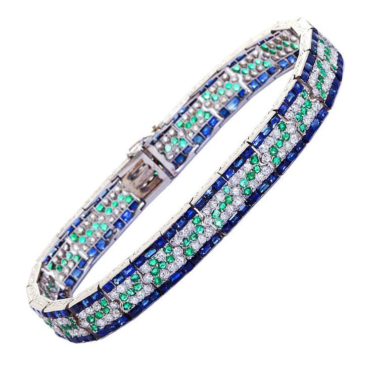 Art Deco Diamond Sapphire and Emerald Bracelet...