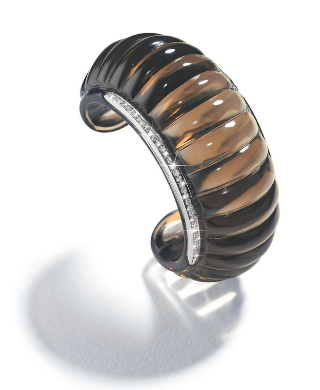 Belperron Godrons Cuff – Smoky Quartz and Diamonds