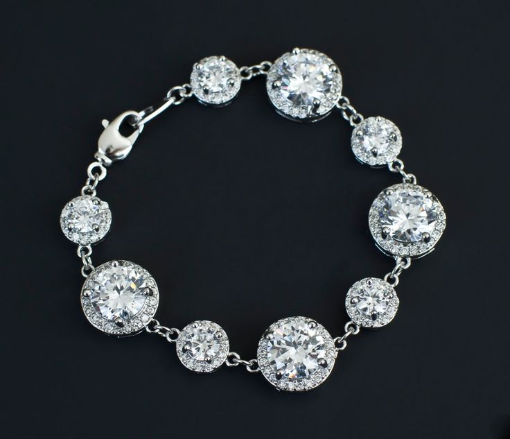Bridal Bracelet,Cubic Zirconia Bridal Bracelet, Luxurious Bridal Wedding Jewelry...