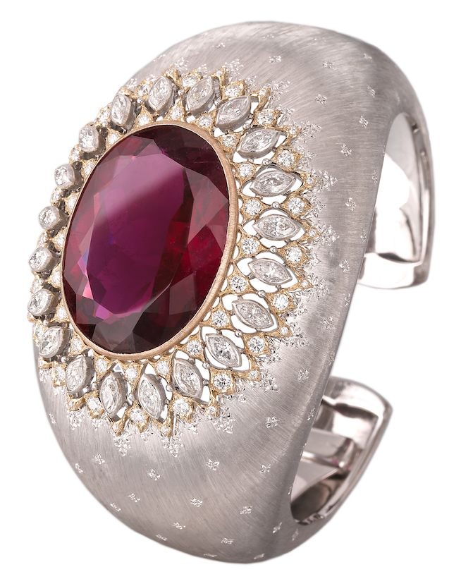 Buccellati Dream Cuff Bracelet in white and yellow gold with tourmaline and diam...