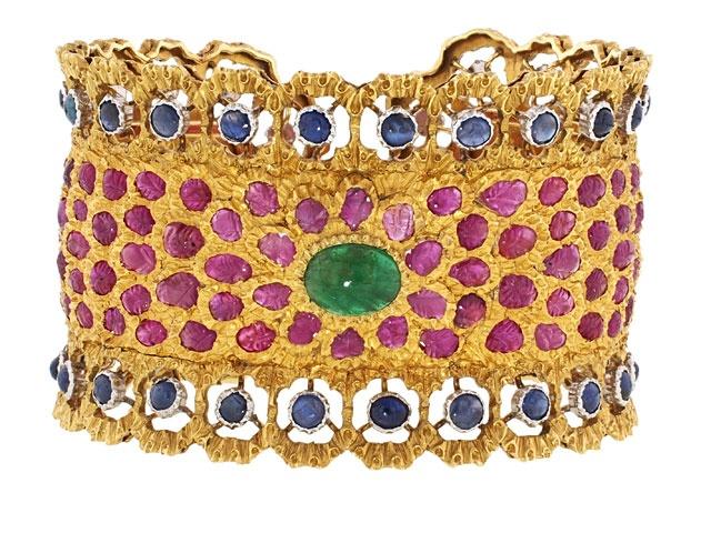 Buccellati Gemstone Cuff Bracelet in 18K - Handcrafted Bohemian beauty. Fabulous...
