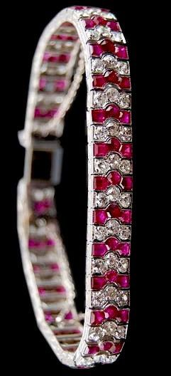 CIrca 1920's All Natural No Heat Ruby and Diamond Bracelet...