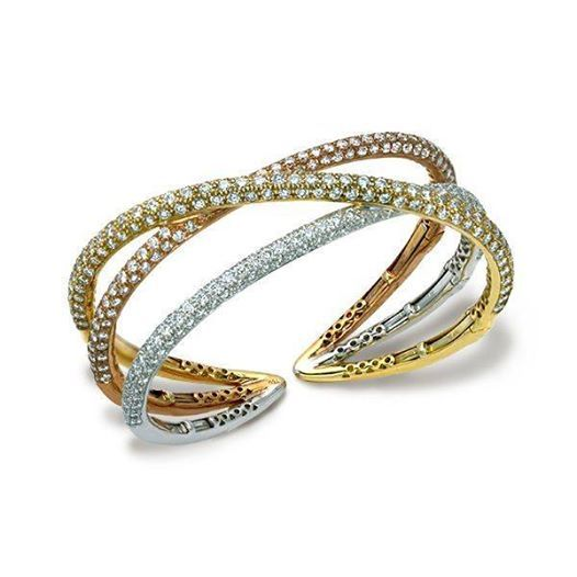De Boulle Collection Cuff is encrusted with diamonds set in 18K rose, white and ...