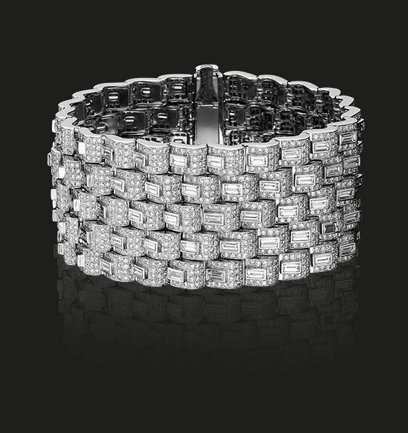 Diamond Cuff Bracelet | A full white diamond cuff bracelet composed of a pattern...