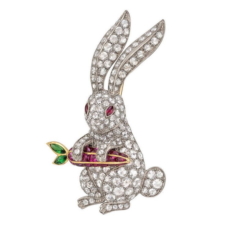 Diamond Rabbit with Ruby Carrot Brooch - Rabbit brooch, the body set with circul...