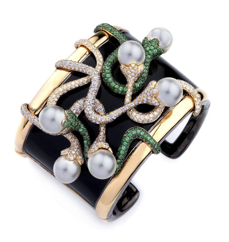 Diamonds, Pearls, & Tsavorite Garnets Cuff Banglesaved by Antonella B.Rossi...