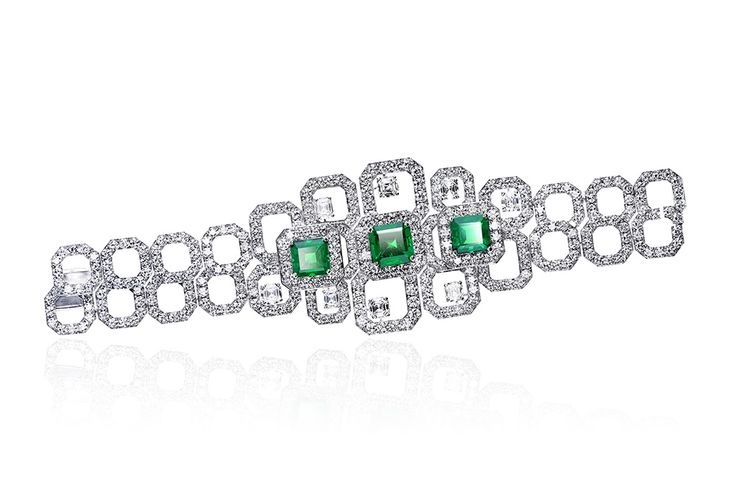 Emerald bracelet by Adler - white gold set with three octagonal cut Columbian em...