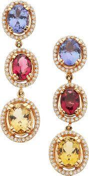 Estate Jewelry:Earrings, Tanzanite, Tourmaline, Diamond, Gold Earrings. ......