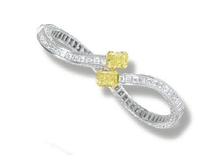 Fancy Intense Yellow Diamond and Diamond Bangle, Graff...