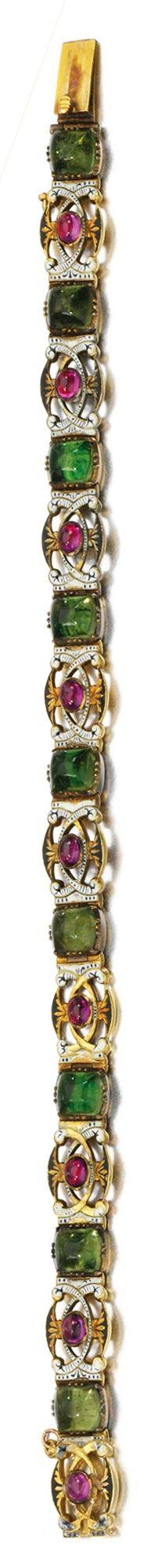 GOLD AND ENAMEL BRACELET, CARLO GIULIANO, 1874-1895 Of pierced openwork scroll g...