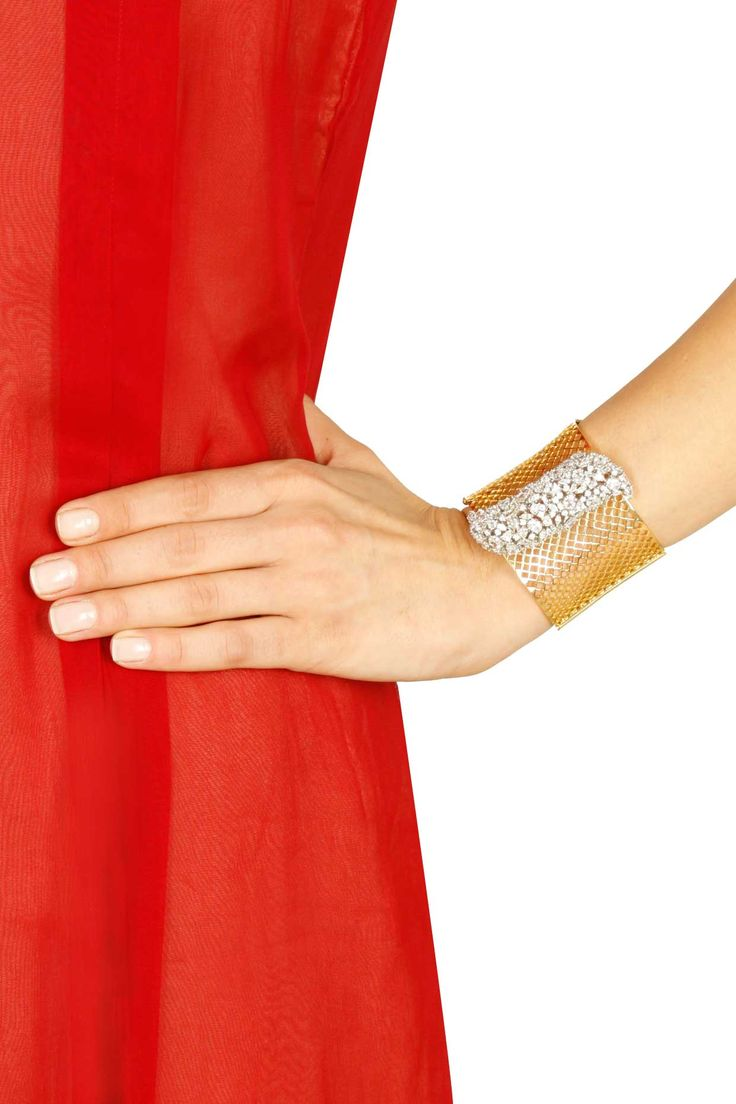 Gold plated swarovski bracelet available only at Pernia's Pop Up Shop.#perniaspo...