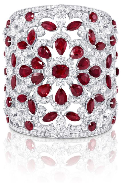 Graff ruby and diamond cuff, rubies, diamonds, cuffs, bracelets, bangles, jewelr...