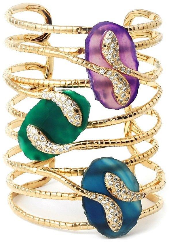 ..Isharya Peacock Serpent Druzy Statement Cuff bracelet...