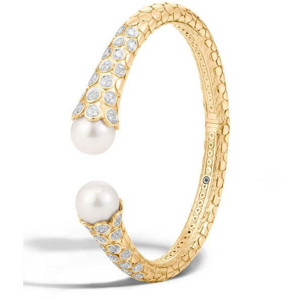 John Hardy Dot Medium 18K Diamond & Pearl Kick Cuff Bracelet ($12,640) ❤ liked...