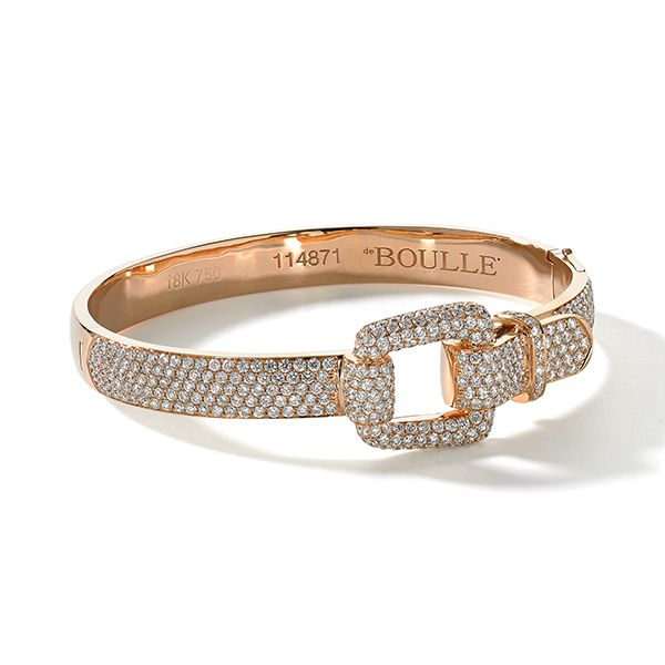 No reason to become unhinged, over 4 cts. of diamonds set this buckle ablaze....