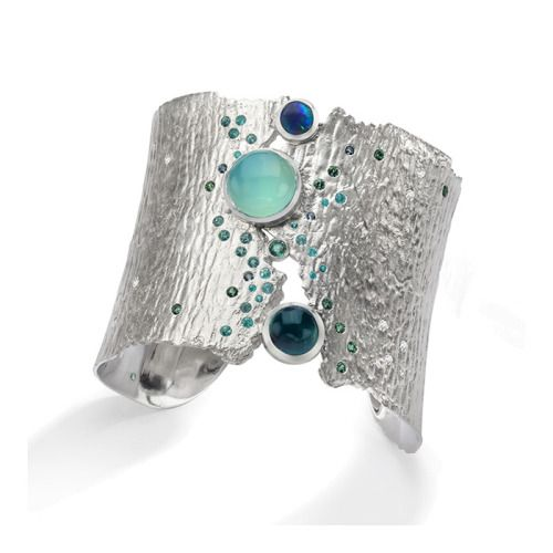 Oceania Cuff ~ sterling silver, blue tourmaline, blue green opal, emerald and ge...