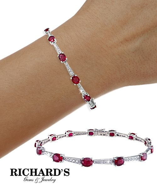 Ruby and Diamond Bracelet in 18K White Gold...