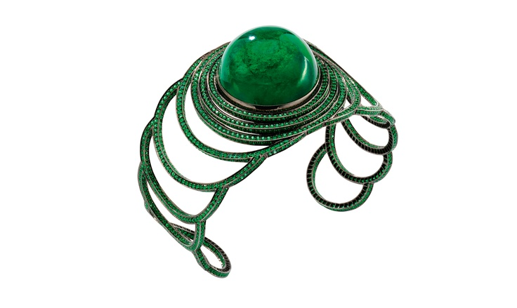 Solange Emerald step cuff