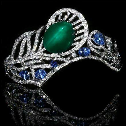 Tiara bracelet,emerald sapphire and diamonds by Ann Lin