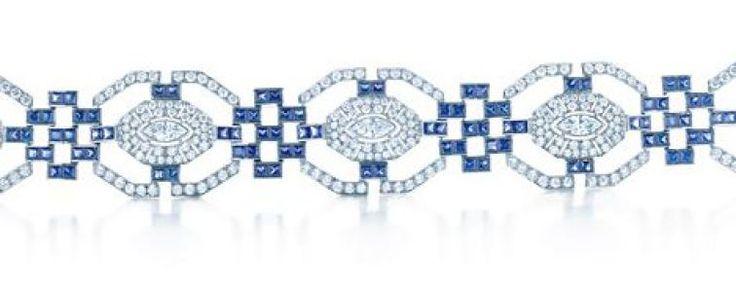 Tiffany Art Deco bracelet with panels of pavé diamonds and links of square-cut ...