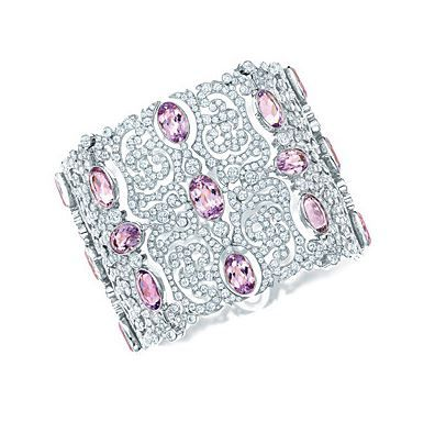 Tiffany scroll bracelet of oval kunzites and round diamonds in platinum, from th...