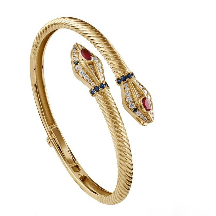 With rubies, sapphires and white diamonds this gold Azza Fahmy Serpent bracelet ...
