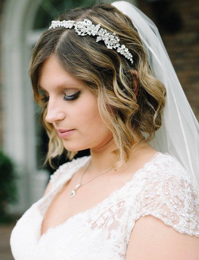 Featured Photographer: Michelle Lange; Short wedding hairstyle idea.