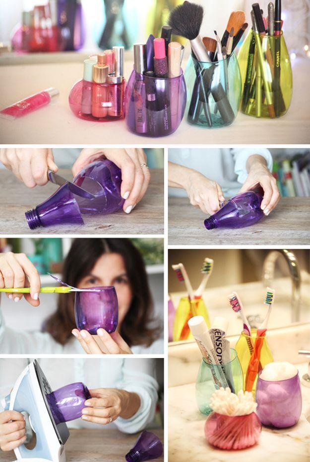 11. Recycled Plastic Bottle | Makeup Storage | DIY Makeup Organizer...