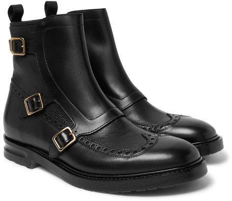 Alexander McQueen Leather Monk-Strap Wingtip Commando Boots