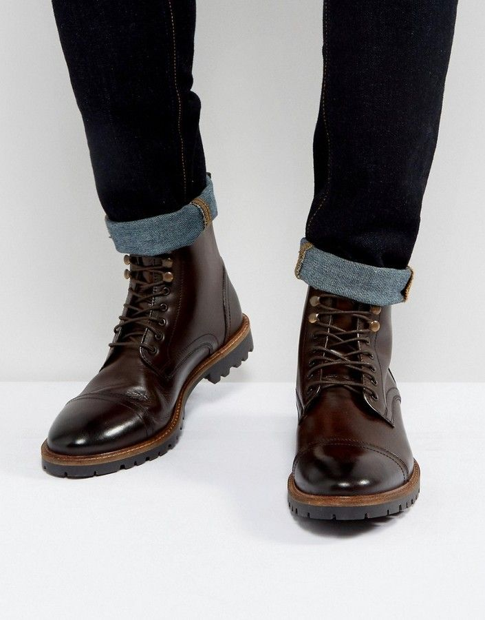 Base London Siege Leather Lace Up Boots In Brown