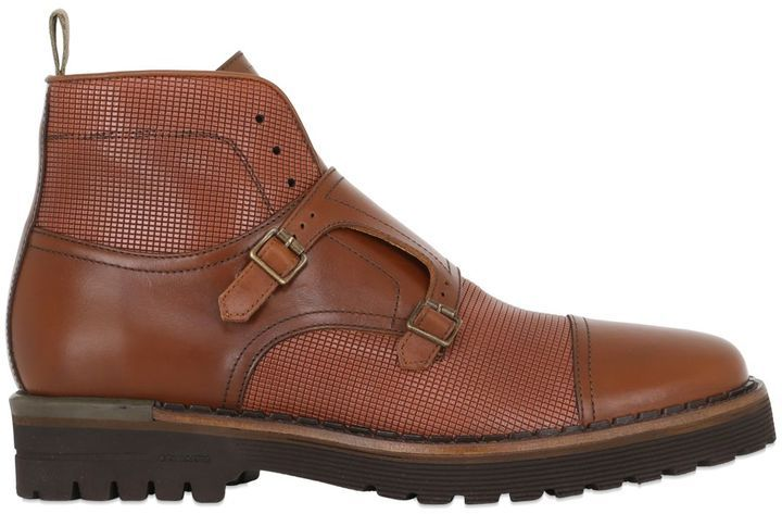 Double Monk Strap Leather Ankle Bootsm...