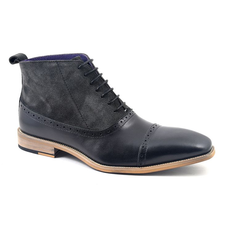 Find Black Grey Suede Balmoral Boots for men at £99.95. Leather and suede combi...