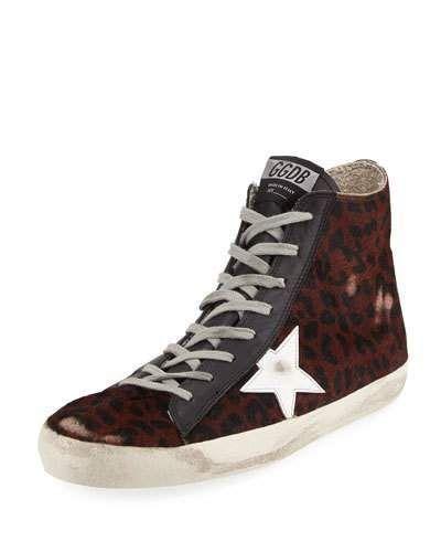 Golden Goose Leopard-Print Calf Hair High-Top Sneaker
