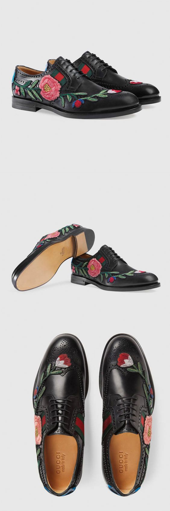 Gucci Leather brogue lace-up with embroidery $1,250...