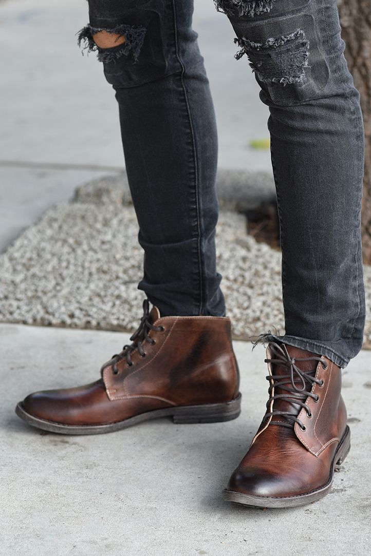 hand made boots from bedstu with high quality leather. the distressed brown is h...